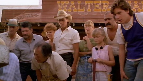 The cast of Tremors outside Walter Chang's place